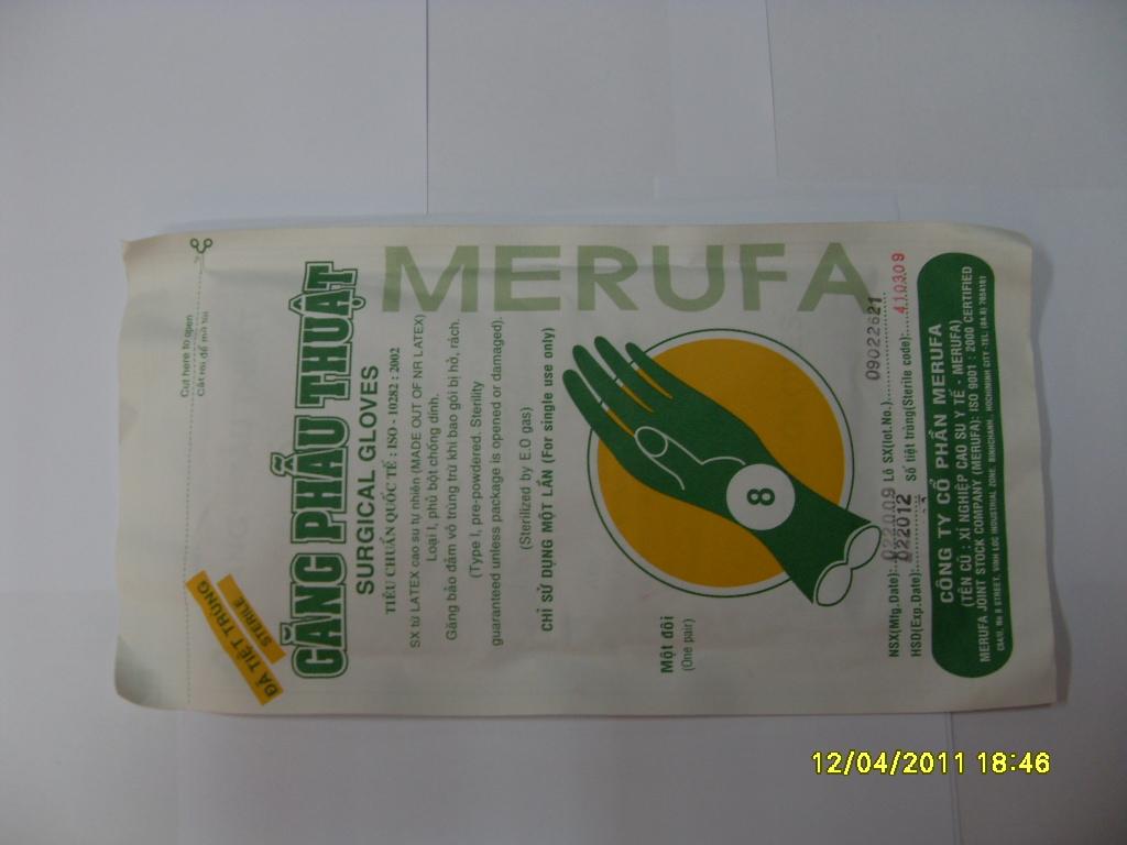 Găng tay phẫu thuật tiệt trùng Merufa
