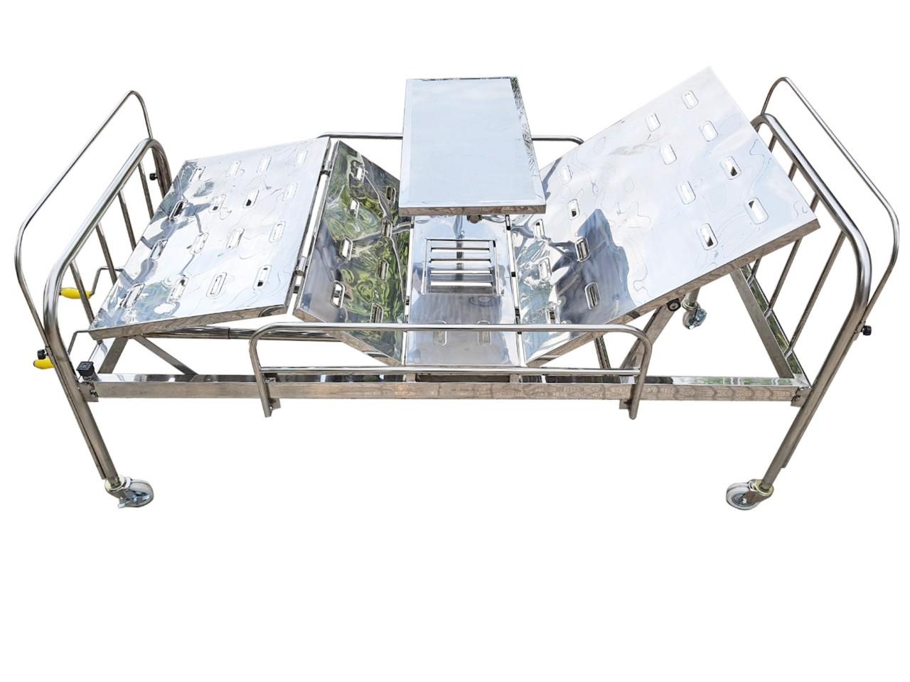 Giường bệnh nhân inox 2 tay quay có bàn ăn